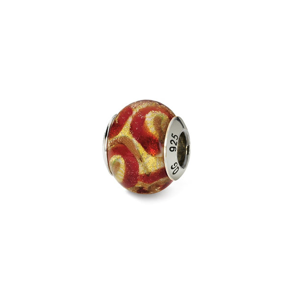 Sterling Silver Reflections Yellow/Gold/Red Italian Murano Bead