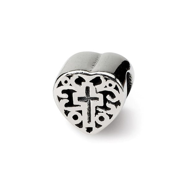 Sterling Silver Reflections Kids Heart w/Cross and Scroll Bead