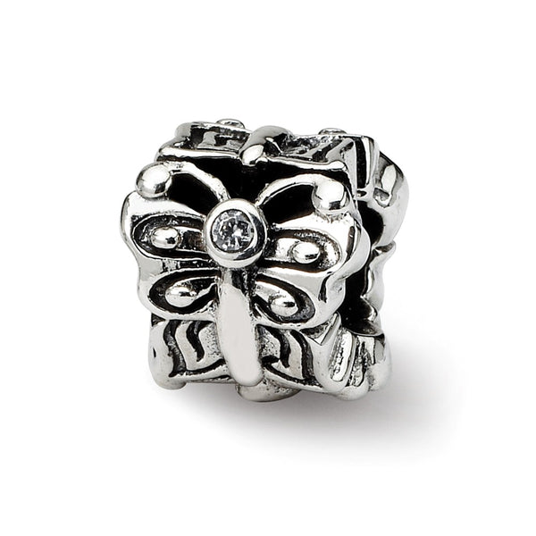 Sterling Silver Reflections Butterfly w/CZ Bali Bead