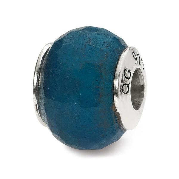Sterling Silver Reflections Medium Blue Quartz Stone Bead