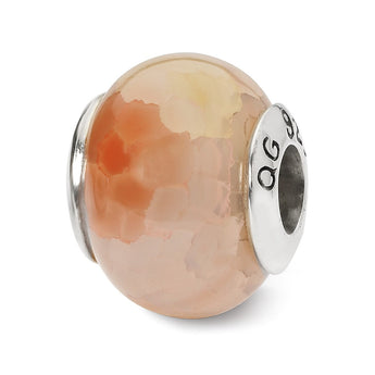 Sterling Silver Reflections Pink Cracked Agate Stone Bead