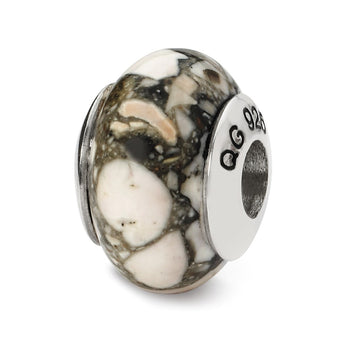 Sterling Silver Reflections White Mosaic Magnesite Stone Bead