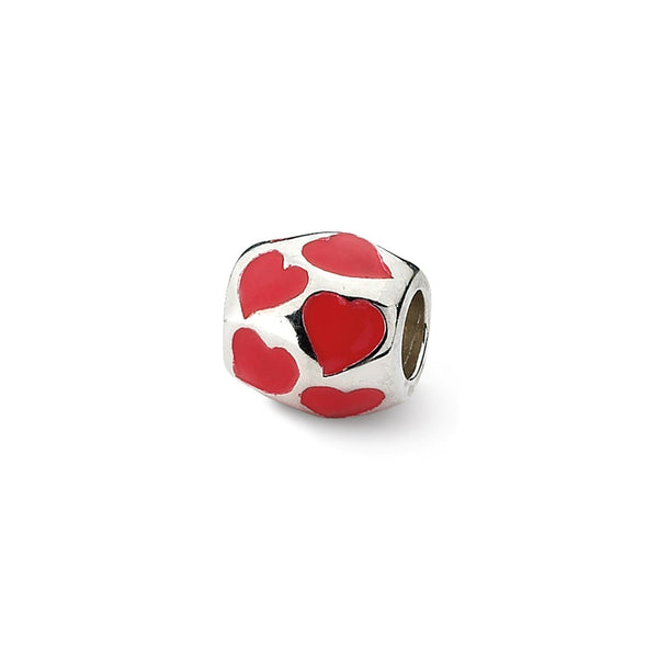Sterling Silver Reflections Red Enameled Hearts Bead