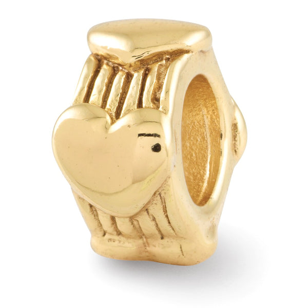 Sterling Silver Gold-plated Reflections Heart Bead