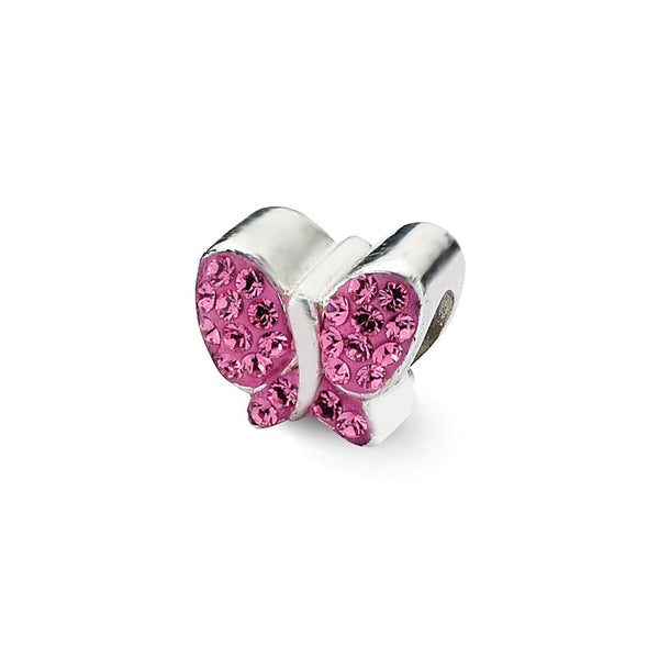 Sterling Silver Reflections Pink Swarovski Crystal Butterfly Bead