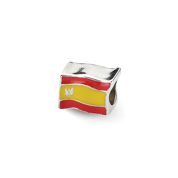 Sterling Silver Reflections Enameled Spanish Flag Bead