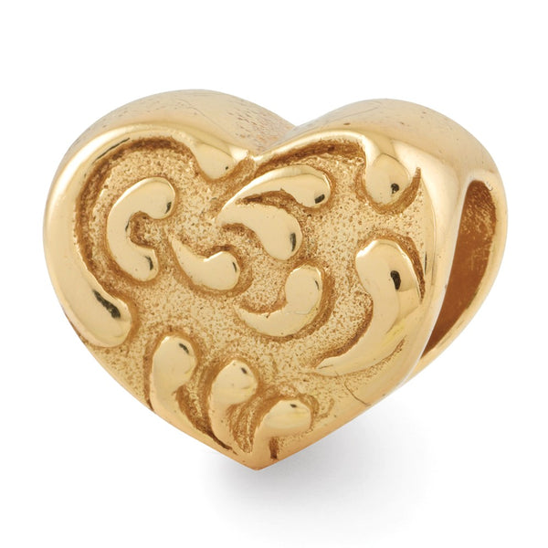 Sterling Silver Gold-plated Reflections Scroll Heart Bead