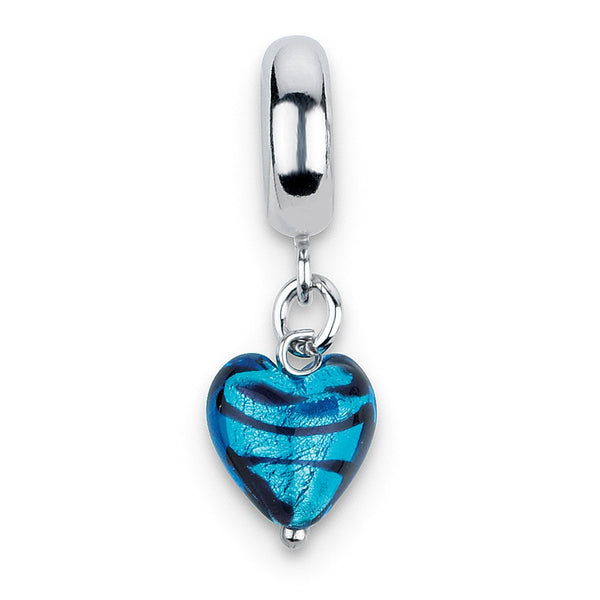 Sterling Silver Reflections Blue Heart Stripes Ital Murano Dangle Bead