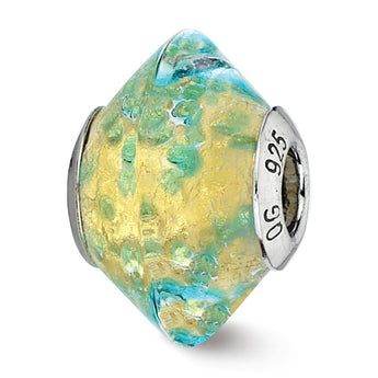 Sterling Silver Reflections Yellow/Teal Italian Murano Glass Bead