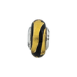 Sterling Silver Reflections Gold/Black Stripes Italian Murano Bead