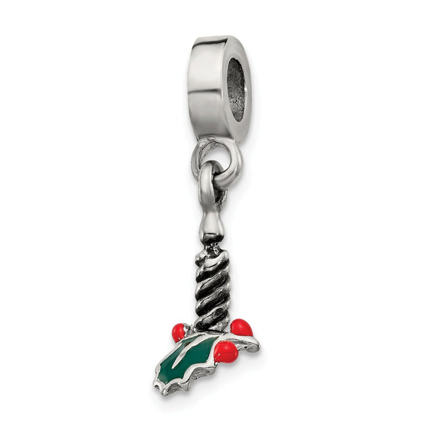 Sterling Silver Reflections Candle with Holly Leaf Dangle Bead