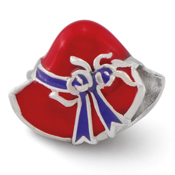 Sterling Silver Reflections Enameled Red Hat Society Bead