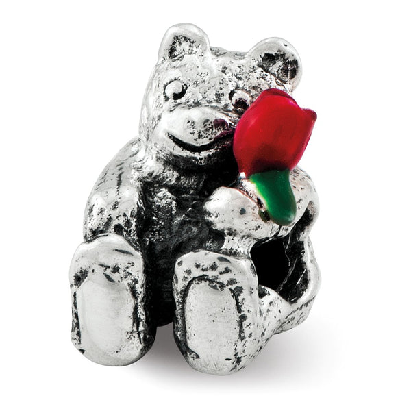Sterling Silver Reflections Kids Bear with Enameled Flower Bead