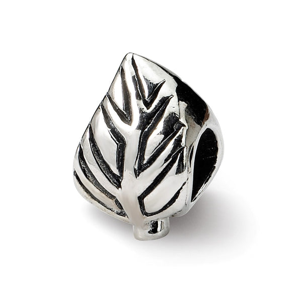 Sterling Silver Reflections Leaf Design Bead