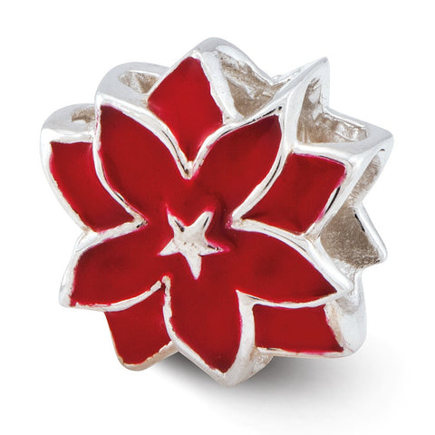 Sterling Silver Reflections Red Enameled Flower Bead