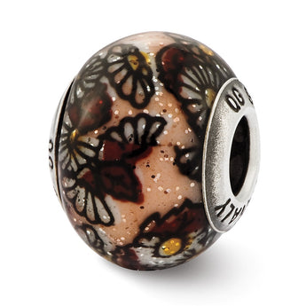 Sterling Silver Reflections Italian Brown Floral Overlay Glass Bead