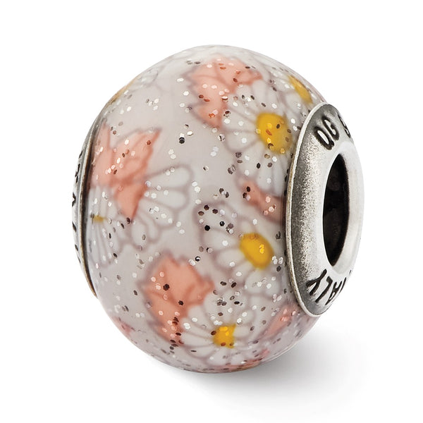 Sterling Silver Reflections Italian White Floral Overlay Glass Bead
