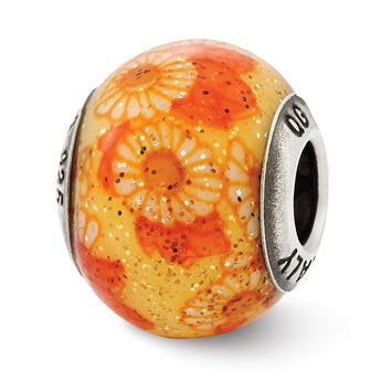 Sterling Silver Reflections Italian Orange Floral Overlay Glass Bead