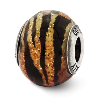 Sterling Silver Variegated Italian Orange,Yellow, & Black Glass Bead