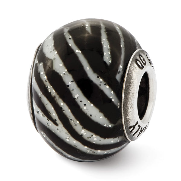 Sterling Silver Reflections Italian Black & White Stripes Glass Bead