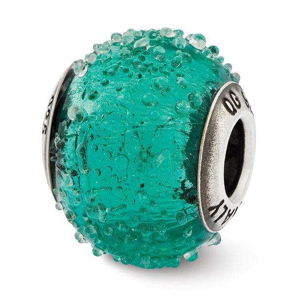 Sterling Silver Reflections Italian Teal Textured  Glass Bead