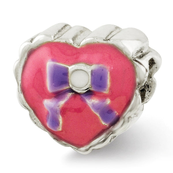 Sterling Silver Reflections Kids Enameled Heart with Bow Bead