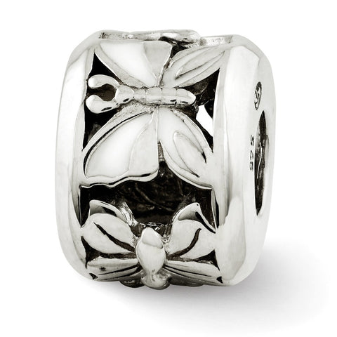 Sterling Silver Reflections White Enameled Butterfly Bead