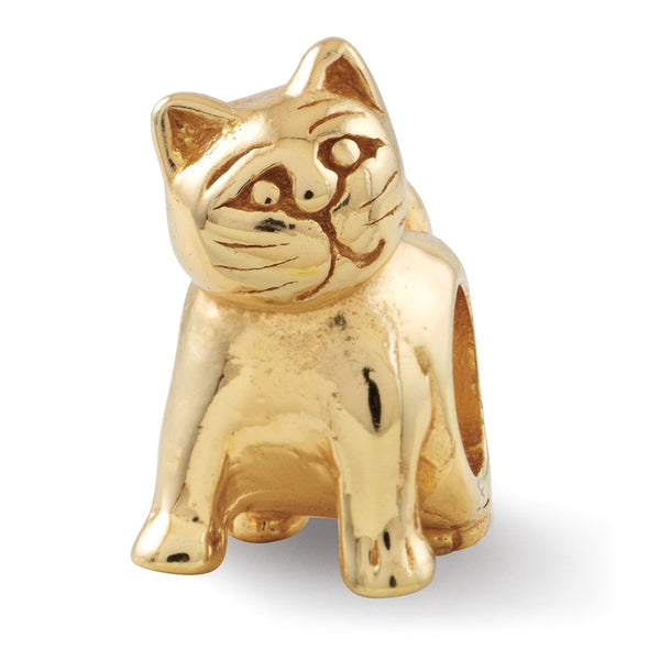Sterling Silver Gold-plated Reflections Cat Bead