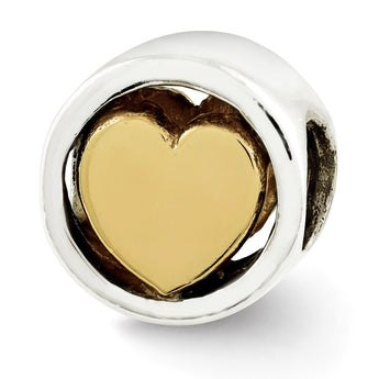 Sterling Silver Reflections Gold-plated Heart Bead