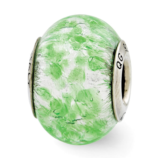 Sterling Silver Reflections Green/White Italian Murano Glass Bead