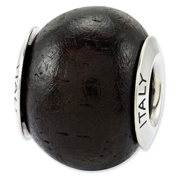 Sterling Silver Reflections Jacaranda Wood Bead