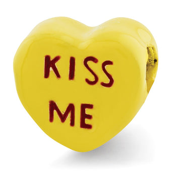 Sterling Silver Reflections Kids Kiss Me Enameled Heart Bead