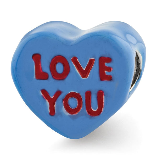 Sterling Silver Reflections Kids Love You Enameled Heart Bead
