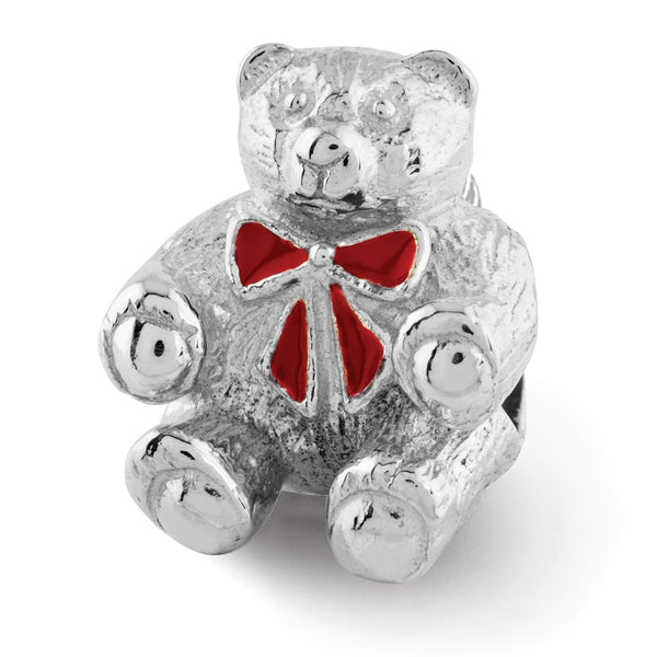 Sterling Silver Reflections Bear w/Enameled Bow Bead