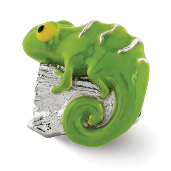 Sterling Silver Reflections Enameled Lizard on Log Bead
