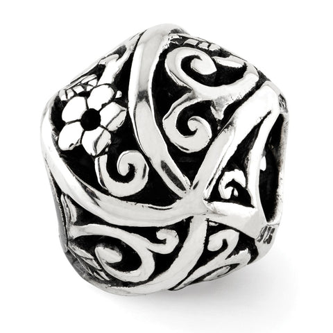 Sterling Silver Reflections Flowers & Vines Bali Bead