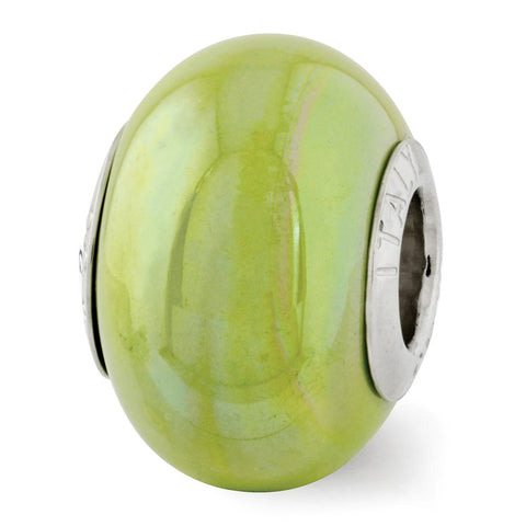 Sterling Silver Reflections Green Ceramic Bead