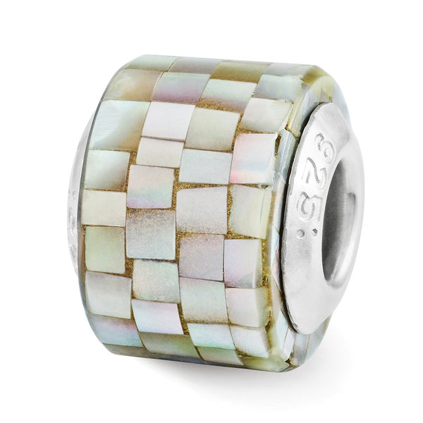 Sterling Silver Reflections Grey Mother of Pearl Mosaic Bead