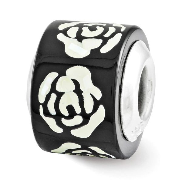 Sterling Silver Reflections Black/White Mother of Pearl Mosaic Bead