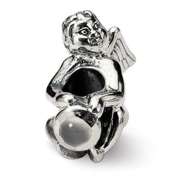 Sterling Silver Reflections June CZ Antiqued Bead