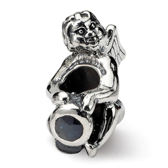 Sterling Silver Reflections September CZ Antiqued Bead