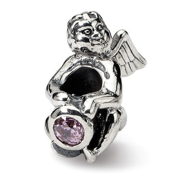 Sterling Silver Reflections October CZ Antiqued Bead