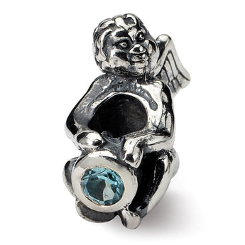 Sterling Silver Reflections December CZ Antiqued Bead