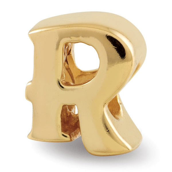 Sterling Silver Gold-plated Reflections Letter R Bead