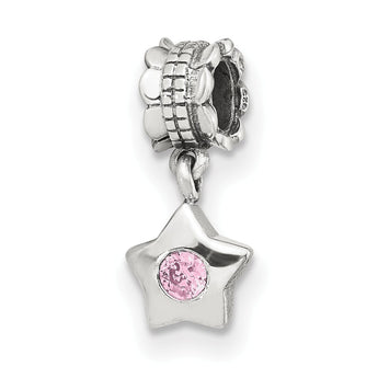 Sterling Silver Reflections Pink CZ Star Dangle Bead