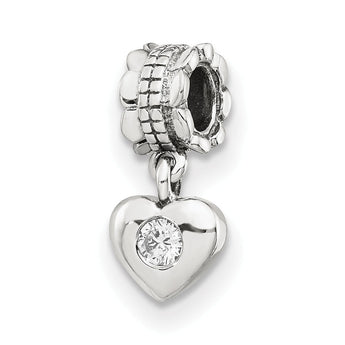 Sterling Silver Reflections CZ Heart Dangle Bead