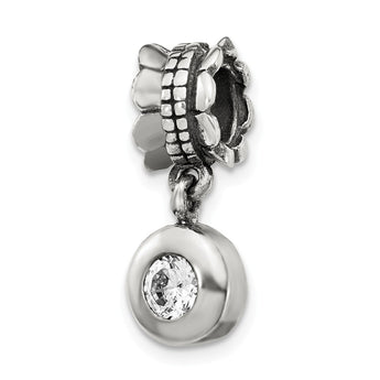 Sterling Silver Reflections CZ Round Dangle Bead