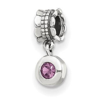 Sterling Silver Reflections Pink CZ Round Dangle Bead