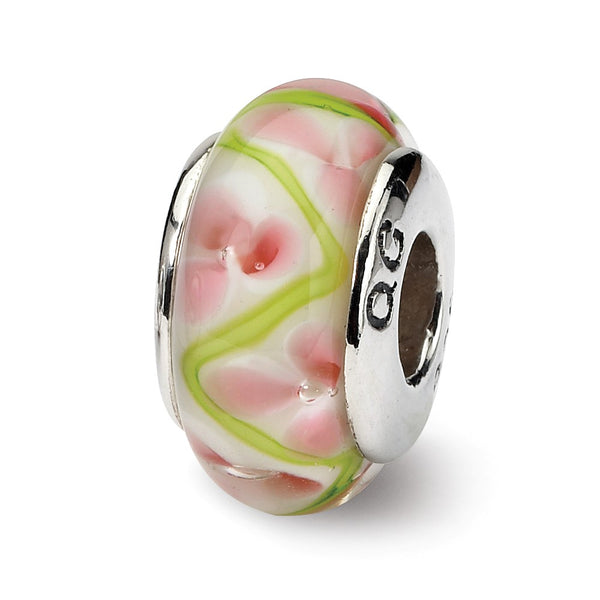 Sterling Silver Reflections Pink/Green Hand-blown Glass Bead