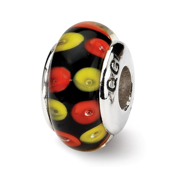 Sterling Silver Reflections Red/Black Hand-blown Glass Bead